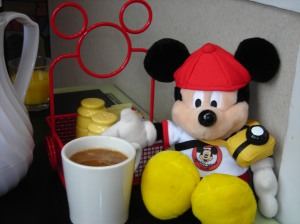 Pal Mickey enjoying a cuppa at the Contemporary