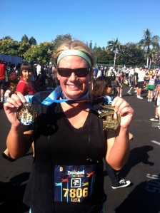 Lisa with her coast-to-coast medals