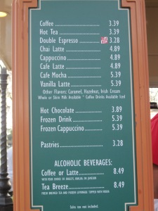 "Sign for many items, including ""Frozen Drink."""