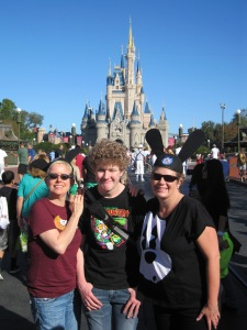 Lisa, Jenifer, and Greg in front of Cinderella Castle